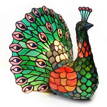 """Tiffany-Style 11.5"""" Poetic Peacock Stained Glass Accent Lamp"""