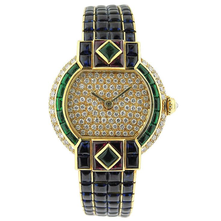 CARTIER Ladies Diamond Ruby Emerald Sapphire Gold Set