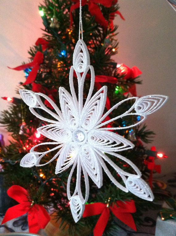 Quilling Sparkly Holiday SNOWFLAKE w/ faux by BlissfullyQuilling, $8.00