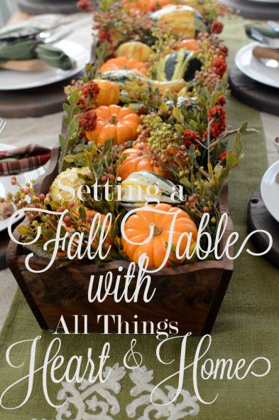 Setting a rustic table for Fall - Easy FallCenterpiece
