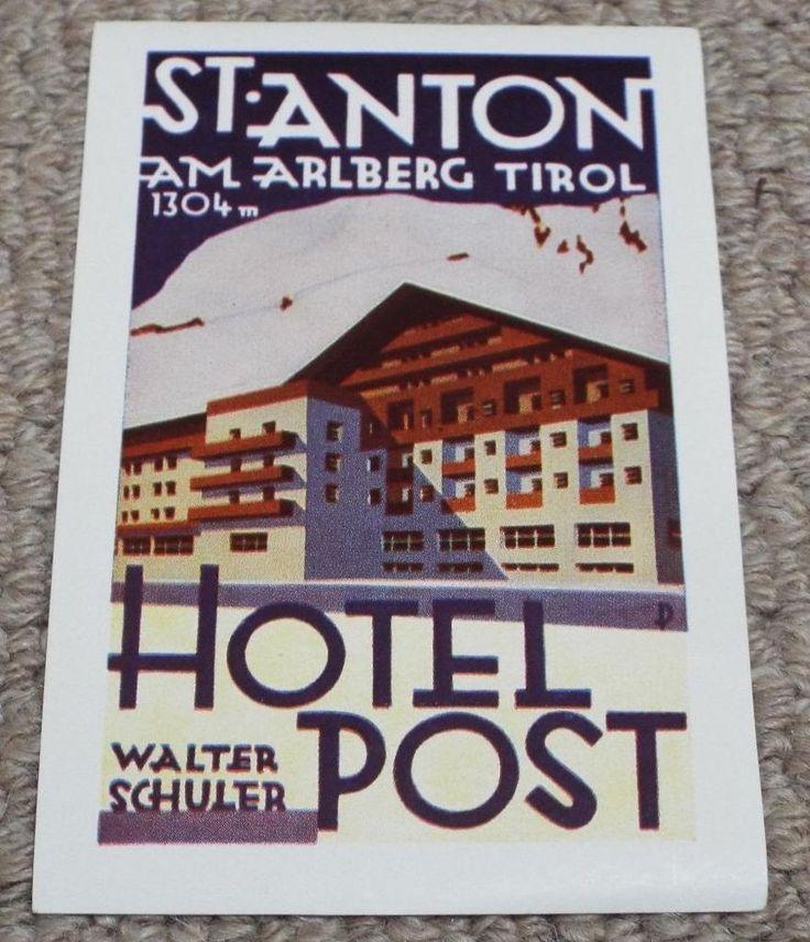 HOTEL POST - ST. ANTON - AUSTRIA - VINTAGE HOTEL LUGGAGE LABEL