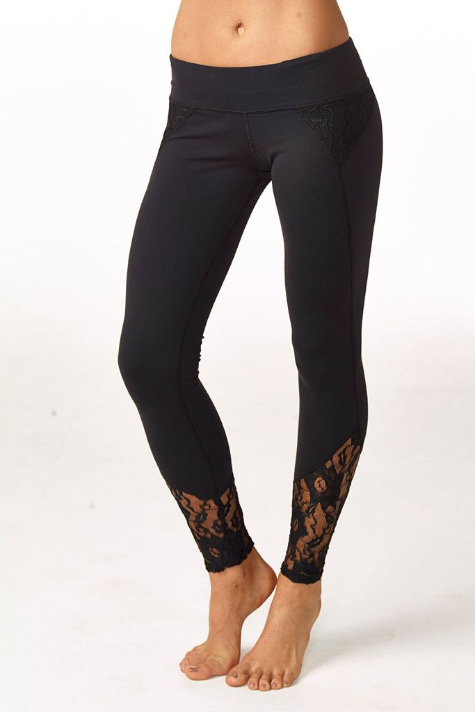 Lace details on the hip and ankle make this the dressiest pair of workout leggings you've ever owned. Wide perfect-fit waistband is comfortable and flattering. Moisture wicking, 4 way stretch, breatha