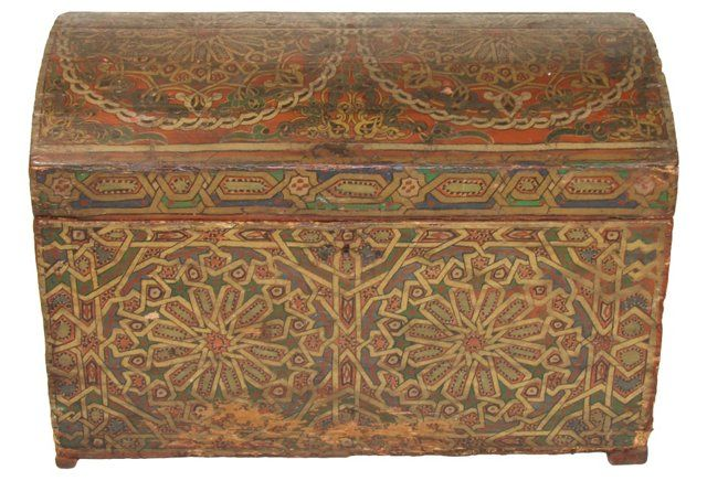 19th-C. Moroccan Painted Trunk