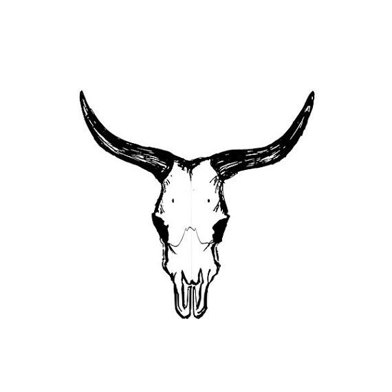 Printable Bull Skull Sketch Art Bull Skull by
