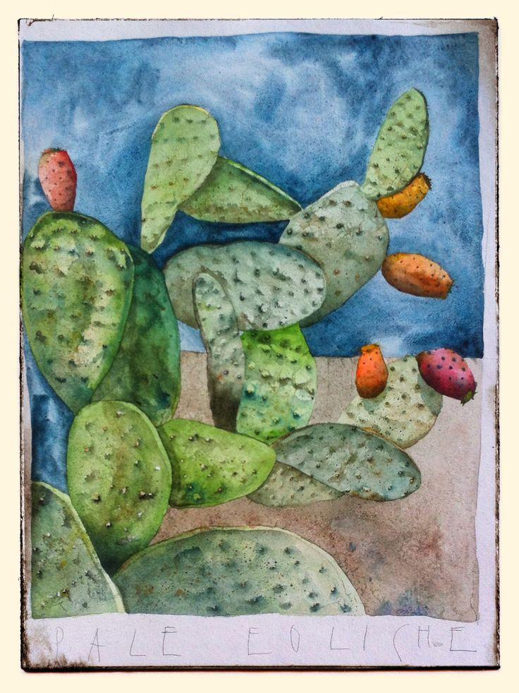 Francesco Faina Pale eoliche Watercolor su carta Khadi - 50x70 | 640 gr