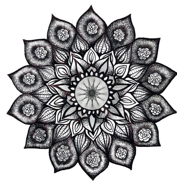 Lotus Mandala in Black and White.