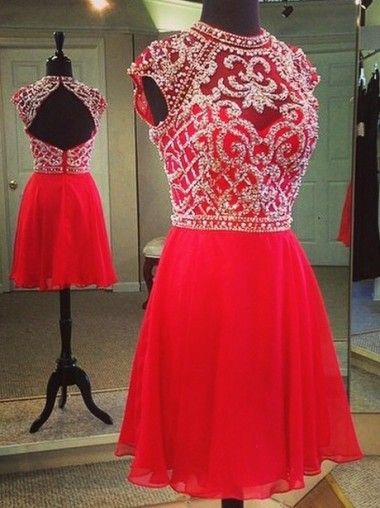 A-line High Neck Homecoming Dresses,Short Chiffon Homecoming Dresses,Cap Sleeves Beaded Backless Red Homecoming Dresses