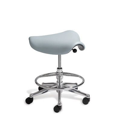 Humanscale Pony Saddle Drafting Chair Upholstery: Vellum - Light Gray