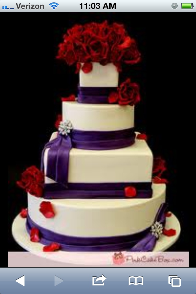 Purple & Red Wedding Possibly changing wedding colors.....Purple Rose, Wedding Cakes, Red Rose, Cake Boxes, Red And Purple Wedding Cake, Black Ribbons, Purple And Red Wedding Ideas, Purple And Red Wedding Cake, Pink Cake