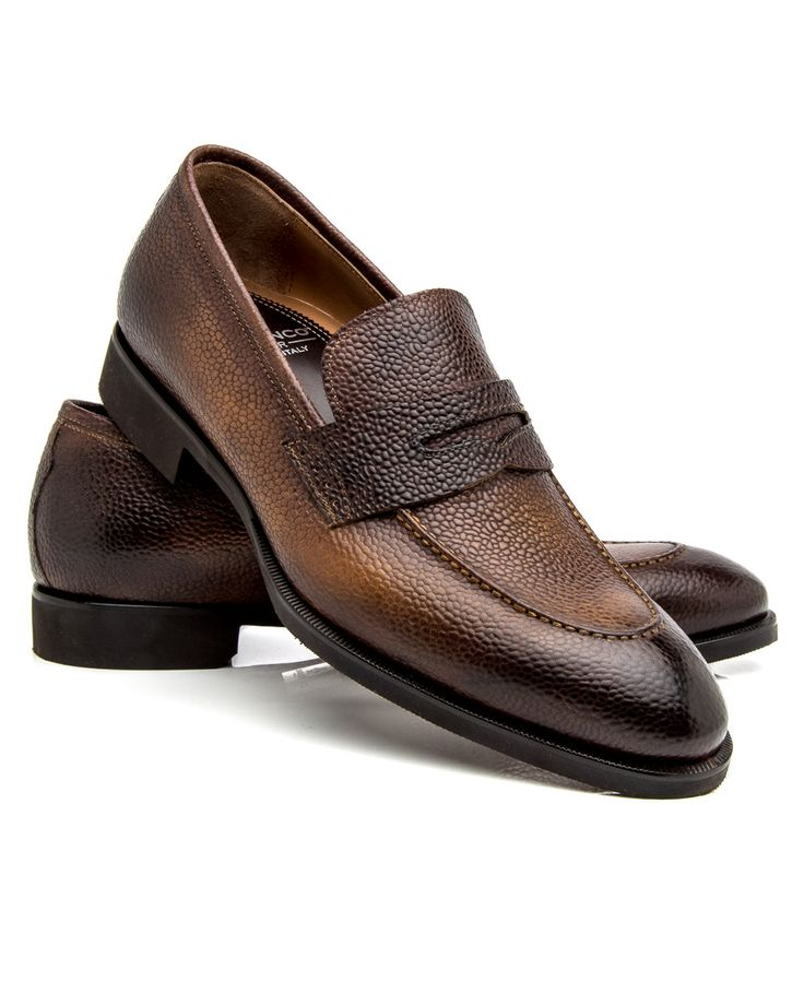 Di Bianco Reverse Sombrero Penny Loafer 	Scotch grain leather upper 	Tonal top stitching 	Penny keeper accent at vamp 	Slip-on style 	Burnished toe and heel 	Almond toe 	Leather lining and insole 	Cushioned footbed 	Blake construction 	Color: reverse sombrero 	Made in Italy