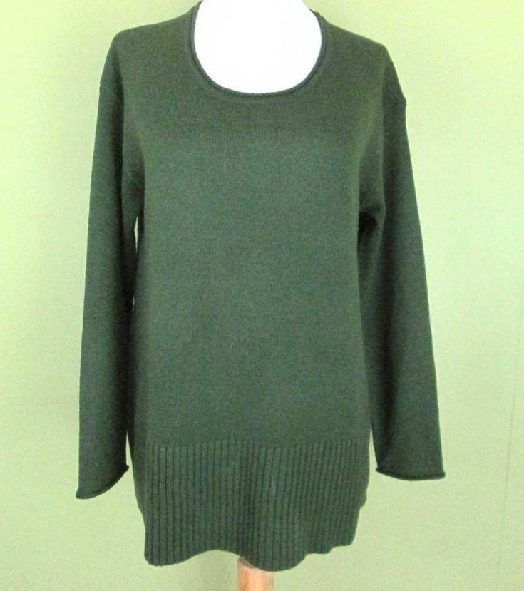 J. Jill Green Wool Blend Size PS Long Sleeve Scoop Neck Sweater #JJill #ScoopNeck