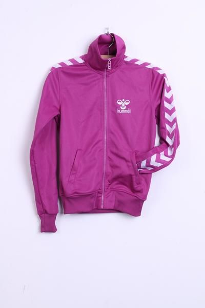 Hummel Womens S Sweatshirt Dark Pink Warm Up Jacket Sport - RetrospectClothes