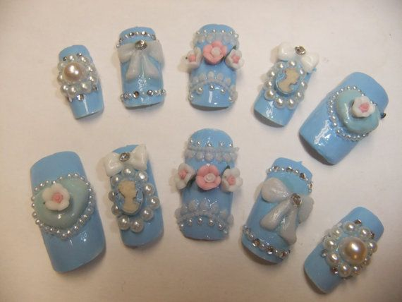 Sweet Lolita Light Pastel Blue Victorian Cameo Nails with bows & hearts acrylic art full false/fake Japanese 3D nail gothic aristocrat on Etsy, $15.99