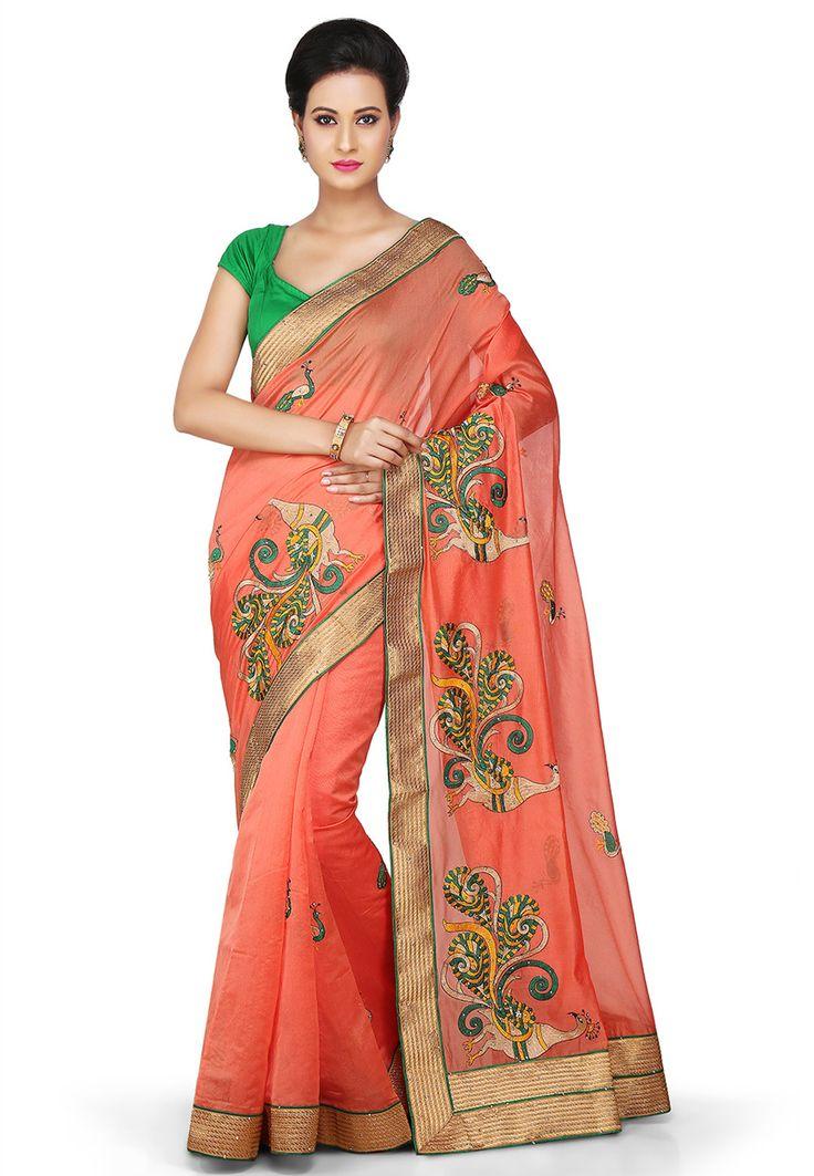 Buy Embroidered Chanderi Silk Saree in Peach online, work: Embroidered, color: Peach, usage: Festival, category: Sarees, fabric: Art Silk, price: $61.00, item code: SAFA138, gender: women, brand: Utsav