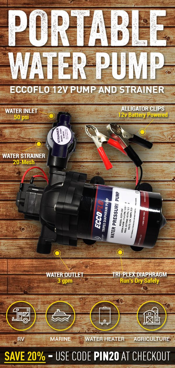 Eccoflo 12v Pump And Strainer Allows You To Safely Pump Water From Any Water Source To Where You Need It Water Pumps Solar Energy Solutions Solar Water System