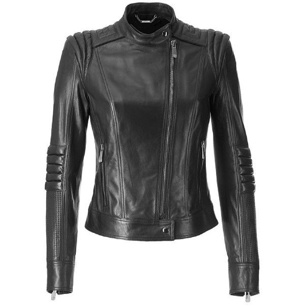 VERSACE Black Leather Jacket (17 530 SEK) ❤ liked on Polyvore featuring outerwear, jackets, black, coats, leather jacket, versace jacket, biker jacket, short leather jacket and genuine leather jacket