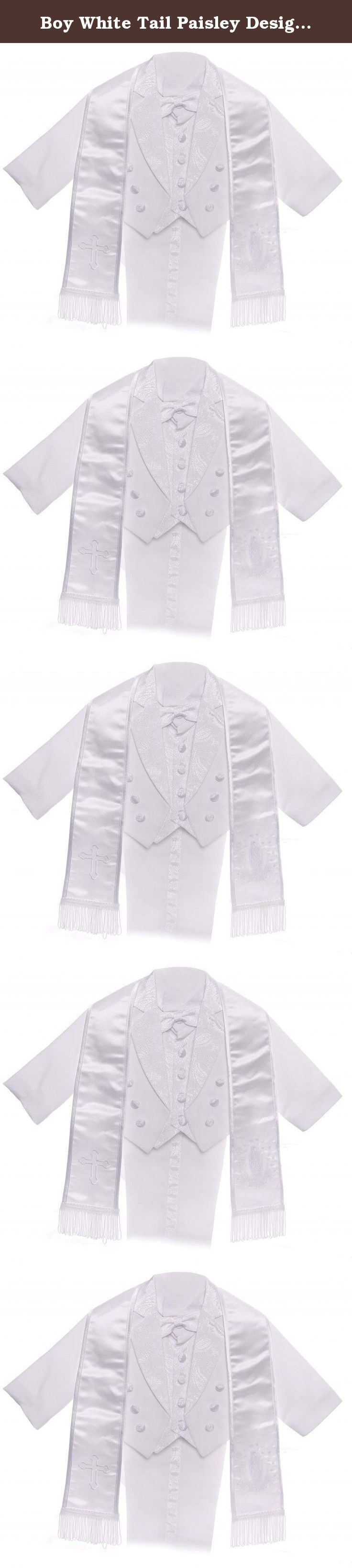 Boy White Tail Paisley Design Christening Virgin Embroidered Tuxedo size 6M. This white tail paisley design tuxedo has an embroidered Virgin in the back. It is a 6PC Set. It includes the Jacket, Vest, Shirt, Pants, Embroidered Scarf, and Bow-tie. There is an additional, optional scarf with a cross embroidery on the left bottom and the Virgin on the right bottom. This classic white tuxedo is great for the special event. Available in sizes 6M-7.