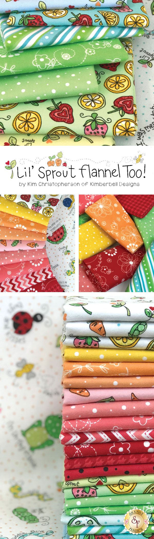 Lil' Sprout Flannel Too by Kim Christopherson for Maywood Studio Fabrics is an adorable flannel collection available at Shabby Fabrics