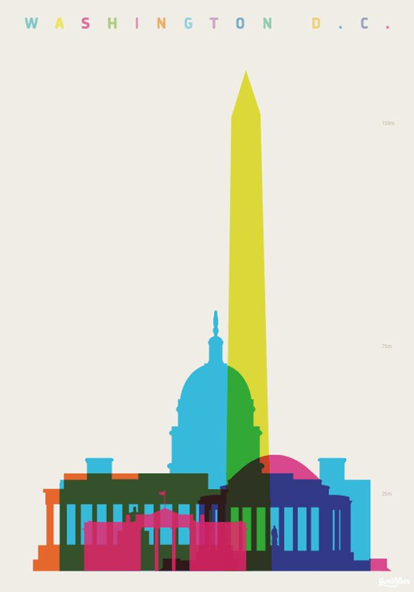 Washington D.C. - Shapes of Cities - Screenprint by Yoni Alter