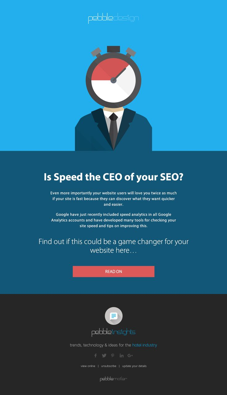 IS SPEED THE CEO OF YOUR SEO?    'if everything seems under control, you're not going fast enough.' ― Mario Andretti    Even more importantly your website users will love you twice as much if your site is fast because they can discover what they want quicker and easier.    Find Out More - http://pebbledesign.com/insights/is-speed-the-ceo-of-your-seo