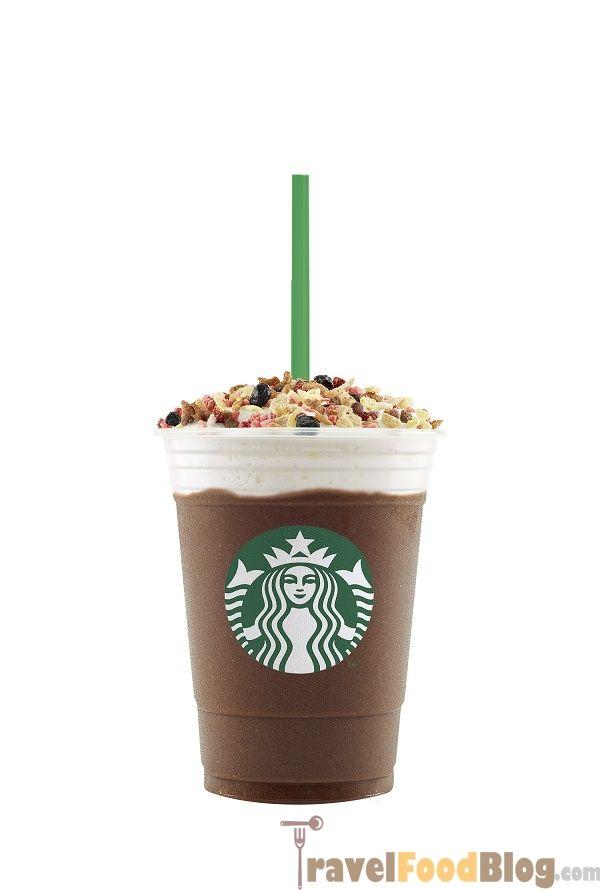 Starbucks Acai Mixed Berry Yogurt Frappuccino and Indulgent Granola Dark Mocha Drinks