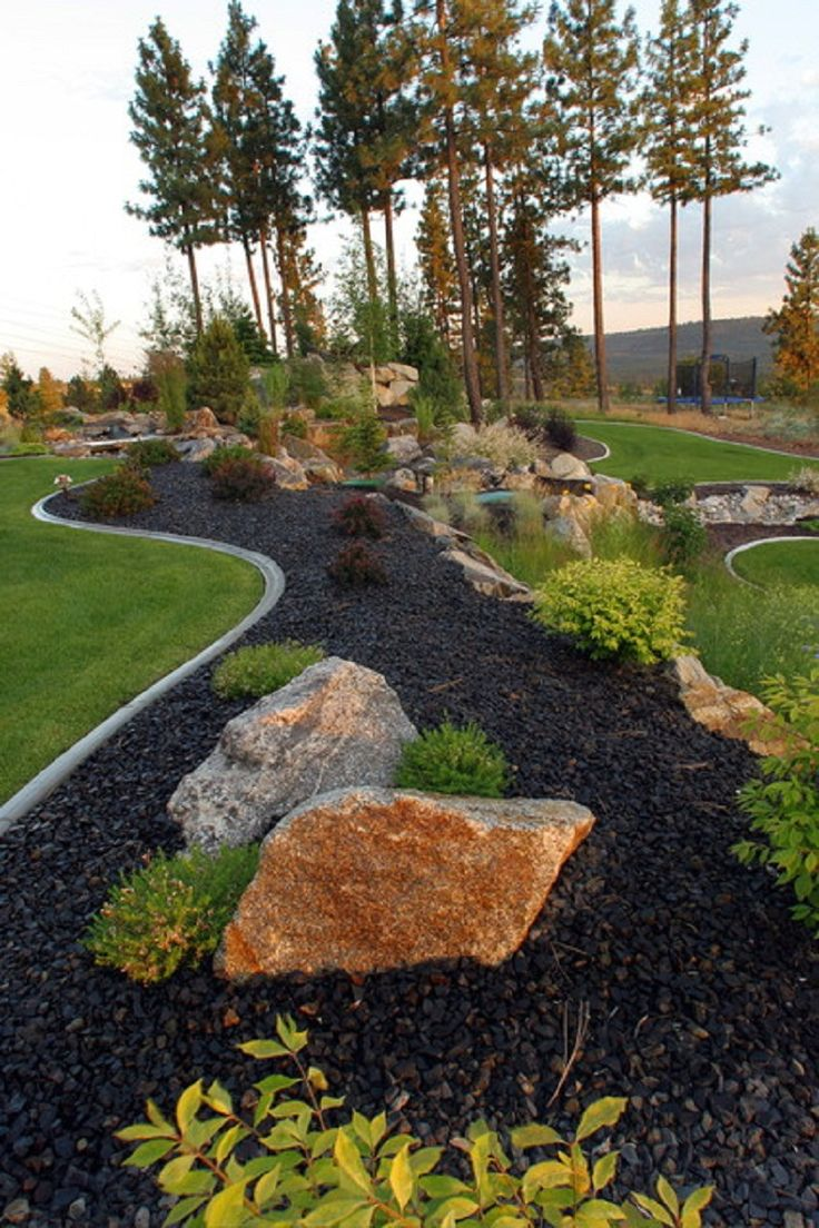 High Quality Black Landscaping Rocks Instead Of Mulch For Front Of House | Gardens U0026  Backyard | Pinterest | Landscaping Rocks, Rock And House