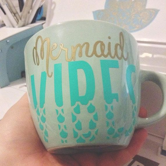 This listing is for ONE coffee mug that has been customized to say Mermaid Vibes in vinyl. This is a 16 oz. Mint stoneware coffee mug that will