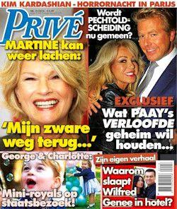 Proefabonnement: 5x Privé 8,-: Het tijdschrift Privé biedt elke week een wereld van glitter en glamour waarbij u weg kunt dromen. Lees 5 weken lang Privé met 38% korting op de prijs van losse exemplaren.