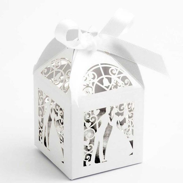 White Laser Cut Wedding Favour Boxes with Bride and Groom