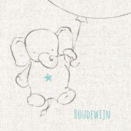 Lief rouwkaartje voor kind met olifantje aan ballon op een linnen achtergrond.  Mourning card child