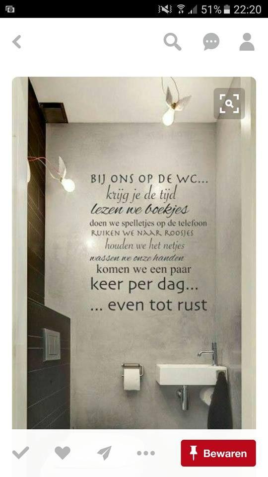 wc tekst op muur