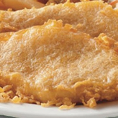 Long John Silvers Batter mix:   ½ cups flour  4 tablespoons cornstarch  ½ teaspoon baking soda  ½ teaspoon baking powder  ½ teaspoon salt  1½ cups ginger ale   In a mixing bowl, sift dry ingredients. Add the water and mix together very well. Completely cover and coat 8 fish or chicken fillets with the batter. Deep fry until golden brown.