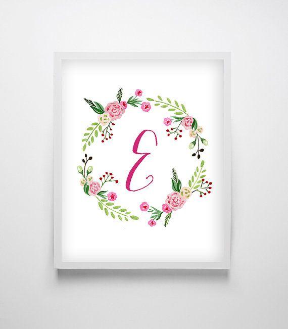 Floral Monogram, Printable Monogram Letter, Nursery Monogram, letter