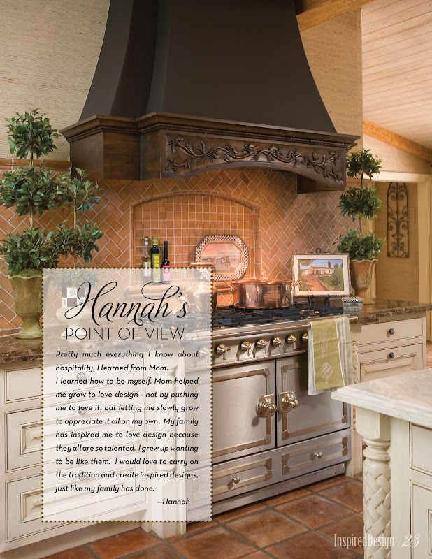 Beautiful Range Hood.  Love the carving on it.