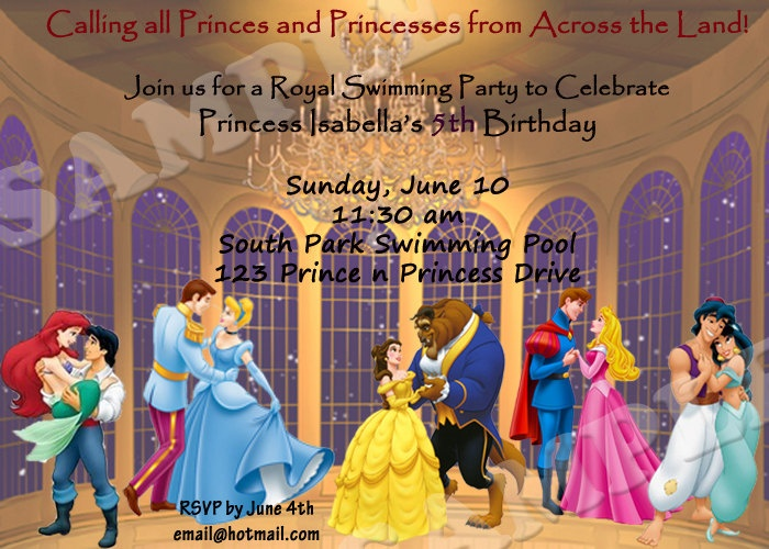 Disney Prince and Princess invitation-PRINTABLE | Party ...