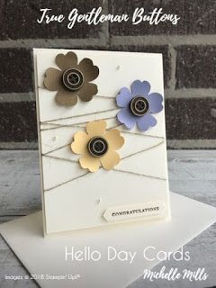 Michelle Mills - Ind Stampin' Up! Demonstrator Australia. FB: Hello Day Cards. Congratulations card CASE'd from Pootles of the U.K. Made with Very Vanilla Card stock, True Gentleman Buttons and the Pansy &  Classic Label Punch. All items are Stampin' Up!®    #eatsleepstamprepeat #gogetstamped  #stampinup #stamping #makeacardsendacard #loveitchopit #worldhelloday #hello #helloday #hellodaycards #congratulations #celebrate #winner #draw #pansy #punch
