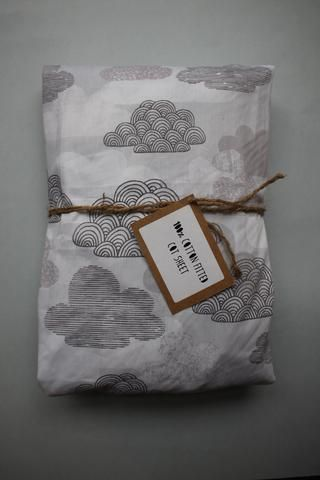 Fitted Cot Sheet - Grey Days (Organic) - Little Dreamer Australia