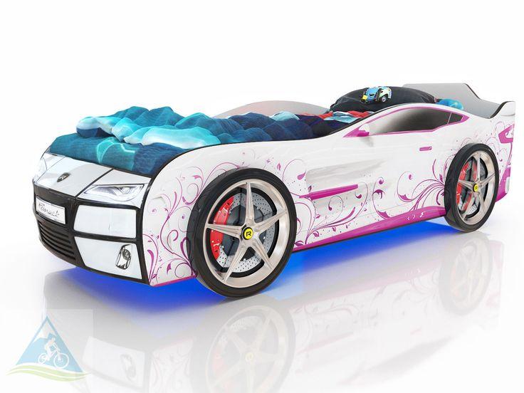 Кровать-машина Romack Kiddy белый - розовая лоза