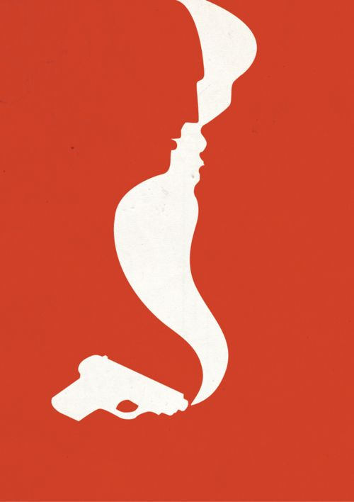 Shape- This is an example of implied shape as the red and white contrast to create the gun, smoke.
