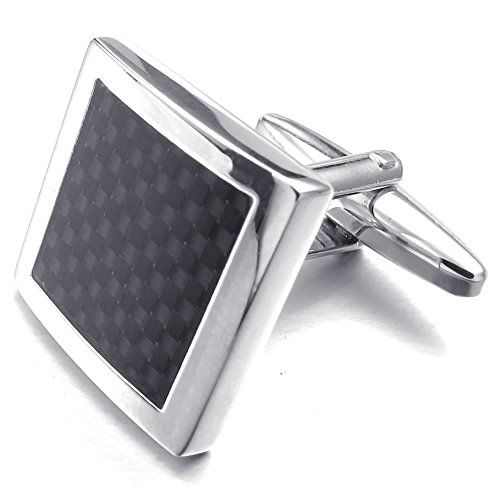 "KONOV 2pcs Rhodium Plated Men's Classic Square Carbon Fiber Shirts Cufflinks, Wedding, Black, 1 Pair. Including one velvet bag printed brand name ""KONOV"" on it. Color: Black. Height: 17mm(0.7""); Width: 17mm(0.7""). Material: Brass, Rhodium plated ( 100% Nickel free )."