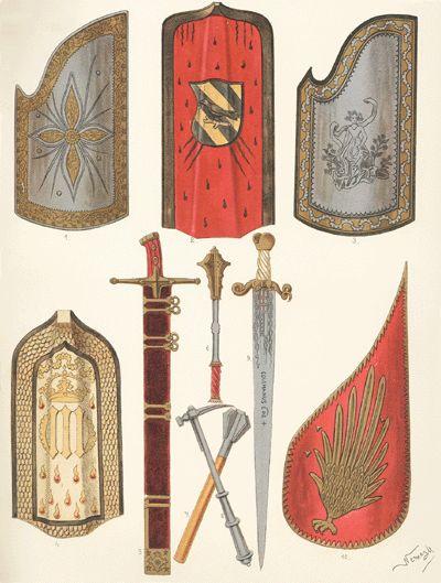 XV. TÁBLA. Magyar fegyverek a XV–XVI. századból. | Magyar viseletek története | Arcanum