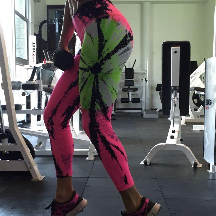MARDELUA , neon tie dye Lycra . Handmade With great Colombian quality ! Sportswear-gymwear