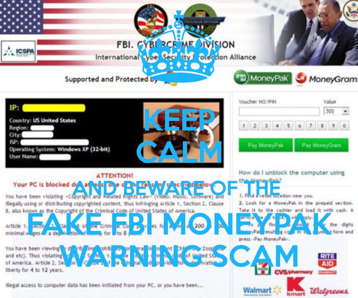 Keep calm and beware of the fake fbi moneypak warning scam