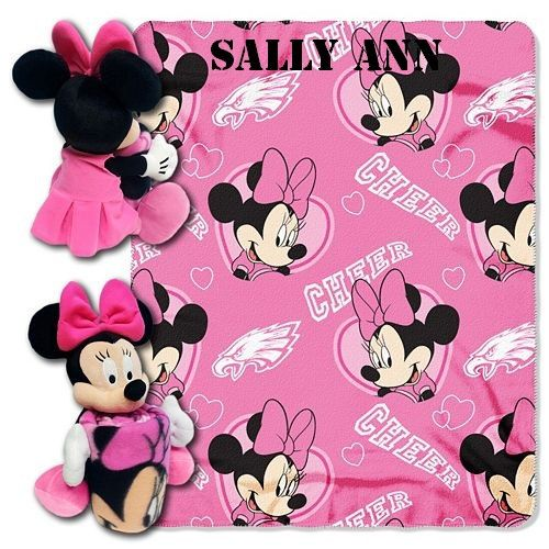 Disney Minnie Mouse NFL Philadelphia EAGLES Cheerleader Fleece Throw Blanket & Hugger - Personalized by CACBaskets on Etsy