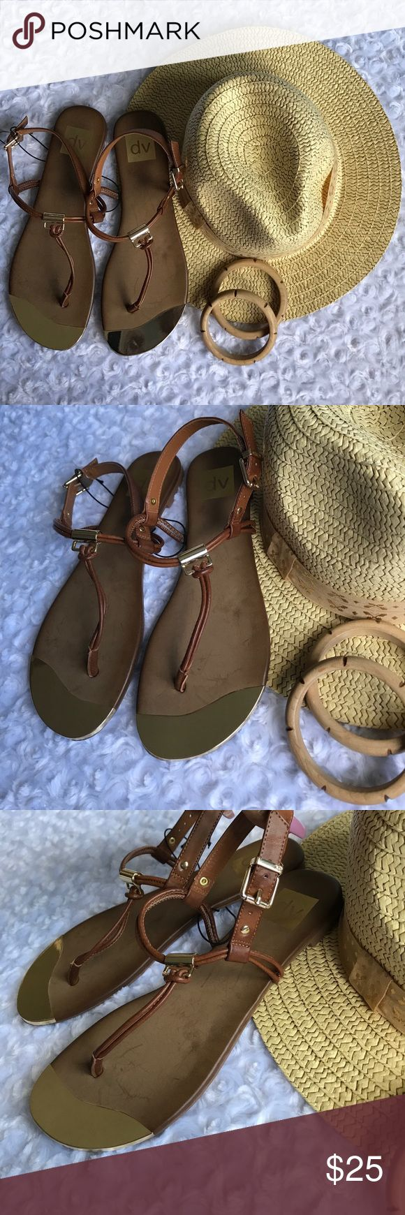 DV BROWN THONG FLAT SANDALS Gold accents make these POP!! PEDICURE READY!!!! Simple. Chic. dv Shoes Sandals