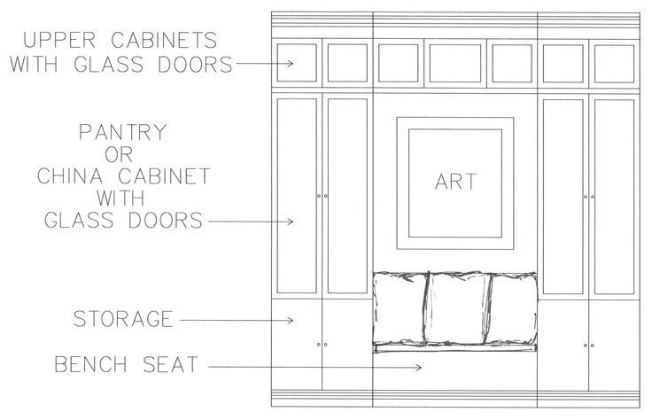 Drawing: Concept Elevation Of Built-in Bench Seat And