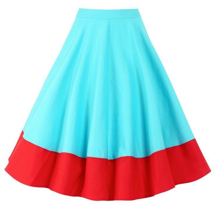 Sukně Lindy Bop Ohlson Aqua Red Retro sukně ve stylu 50. let. Nádherná kolová sukně vhodná na svatby, párty či jiné společenské akce. Doporučujeme doplnit topem, košilí či body a lodičkami s vyšším podpatkem. Krásné výrazné barvy - azurově modrá s červeným širším lemem ve spodní části z Vás vykouzlí dokonalou dámu. Příjemný pružný materiál (97% bavlna, 3% elastan), boční krytý zip. Pro bohatý objem sukně doporučujeme doplnit spodničkou z naší nabídky v červené či bílé barvě.
