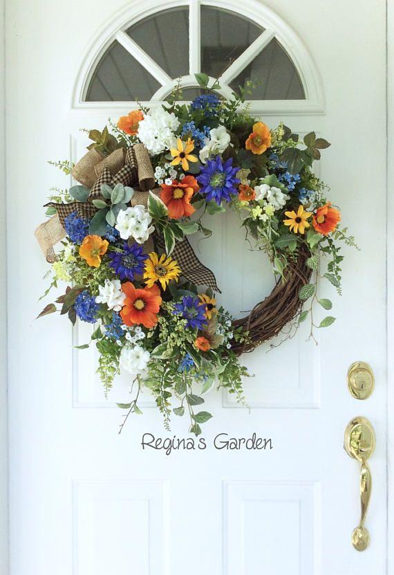 Bright Summer Wreath-Summer Door Wreath-Cottage Chic