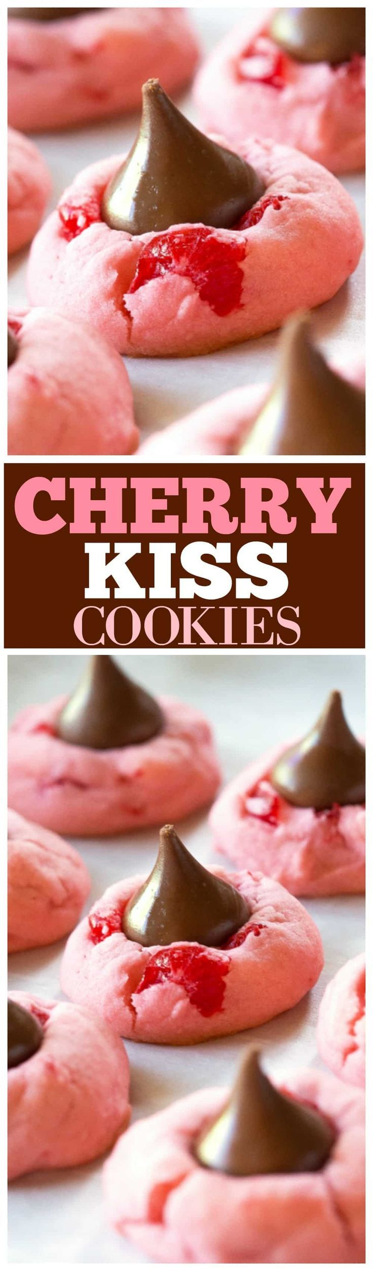 These Cherry Kiss Cookies are sweet cherry almond cookies with a chocolate Hershey kiss in the middle. Great for Christmas cookie plates.