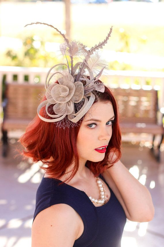 Gray Silver Fascinator Womens Tea Party Hat by QueenSugarBee